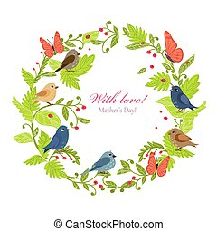 funny birds in floral wreath for your design