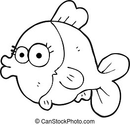 funny black and white cartoon fish with big pretty eyes