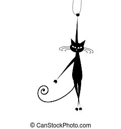 Funny black cat for your design