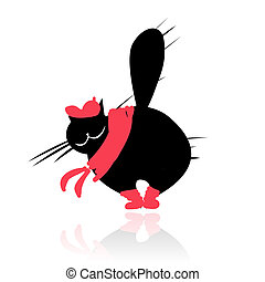 Funny black cat in fashion clothes for your design