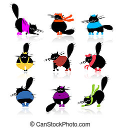 Funny black fat cats silhouettes in fashion clothes for your...