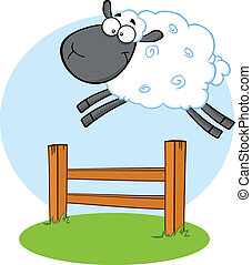 Funny Black Head Sheep Jumping