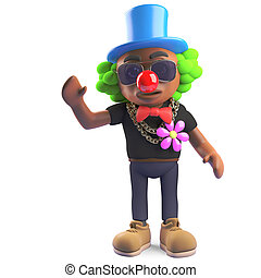 Funny black hiphop rapper wearing a clown outfit, 3d...