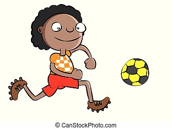 funny black school boy playing soccer