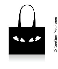 Funny black shopping bag with eyes
