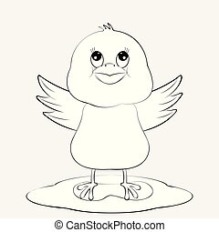 funny black white chicken illustration for coloring book or page.