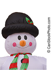 Funny blow-up snowman-clipping path - Image of a funny...