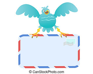 Funny Blue Bird carrying mail