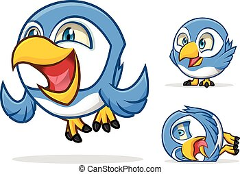 Funny Blue Bird Cartoon Character