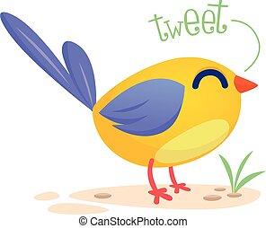 Funny blue bird cartoon. Vector illustration