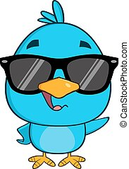 Funny Blue Bird Character Waving