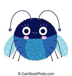 funny blue bug creature icon cartoon in isolated style
