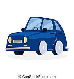 Funny blue car design flat vector illustration