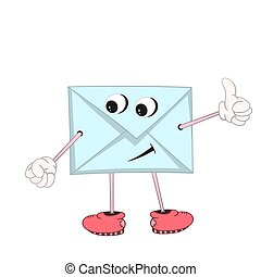 Funny blue cartoon letter with eyes, arms and legs in shoes shows an approving gesture with his hand.