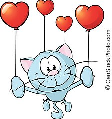 funny blue cat flying with balloon