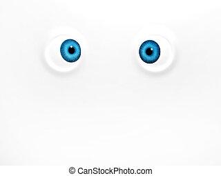 Funny blue eyes on white background