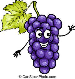 funny blue grapes fruit cartoon illustration - Cartoon...