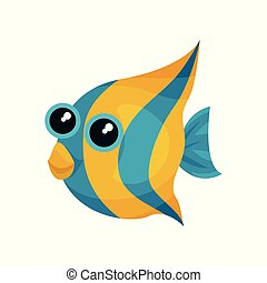 Funny blue-yellow fish with big shiny eyes. Sea animal. Cute marine creature. Flat vector element for children book