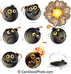 Funny Bomb - Collection of cartoon bomb expression, isolated...