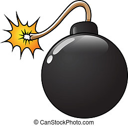 Funny Bomb Vector Illustration - Drawing Art of Cartoon Bomb...