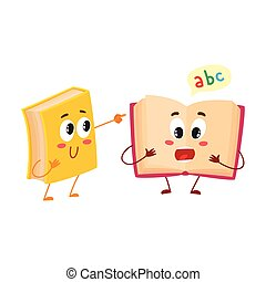 Funny book character running with bookmark ribbon visible