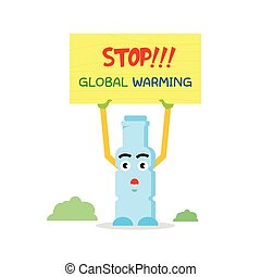 Funny bottle mascot invites to save the world from global warming