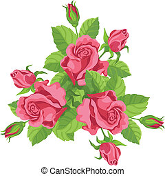 funny bouquet of roses - hand drawing illustration of a...
