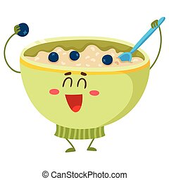 Funny bowl of cereal, corn flakes, oatmeal porridge character