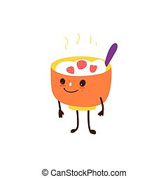Funny bowl of hot oatmeal, rice porridge character