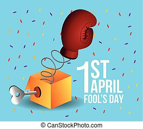 funny box with boxing glove to fools day