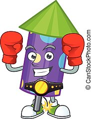 Funny Boxing dot fireworks rocket cartoon character style
