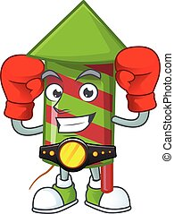 Funny Boxing green stripes fireworks rocket cartoon character style