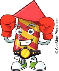 Funny Boxing red stripes fireworks rocket cartoon character style