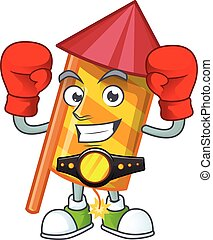 Funny Boxing yellow stripes fireworks rocket cartoon character style