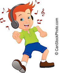 funny boy cartoon listening music with dance