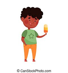 Funny Boy Character Holding Popsickle or Fruit Ice Vector Illustration. Little Kid Eating Cold Refreshing Treat and Enjoying Summertime Concept