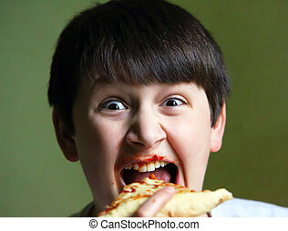 Funny Boy Eating Pizza