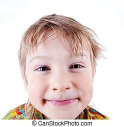 Funny boy grimacing isolated on white background