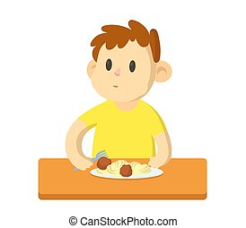 Funny boy having a lunch, cartoon character. Flat vector illustration, isolated on white background.