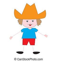 Funny boy in an orange hat.