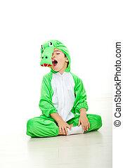 Funny boy in crocodile oufit