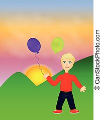 Funny boy with balloons
