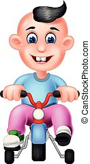 Funny Boy With Bicycle Cartoon