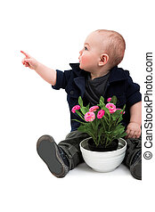 boy with house plant - funny boy with house plant