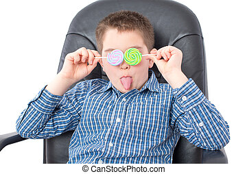 Funny Boy with Lollipops Over his Two Eyes