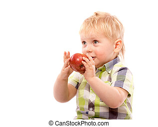 Funny boy with red apple and glasses