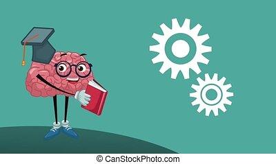 Funny brain cartoon HD animation - Funny brain reading a...