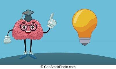 Funny brain cartoon HD animation - Funny brain with...