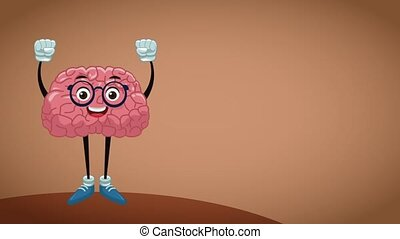 Funny brain cartoon HD animation