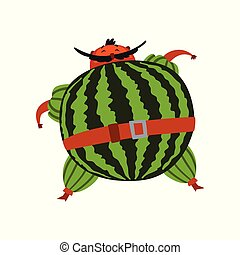 Funny brave watermelon cartoon character, man in fruit costume vector Illustration on a white background